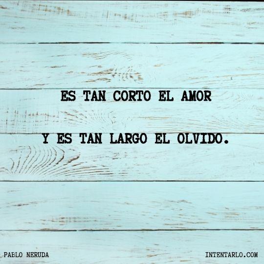 Es tan corto el amor y es tan largo el olvido